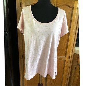 Cynthia Rowley Pink Polka Dot Tee Shirt Top 1X